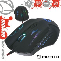 RATO ÓPTICO USB GAMING LED RGB 800-2400DPI- MANTA MM773G